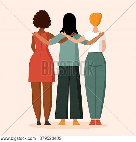A Woman With A Different Skin Color Stands With Her Back. The Concept Of Anti Racism, The Unity Of D