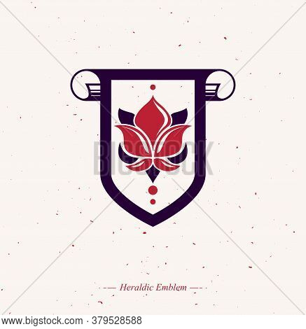 Vintage Heraldic Emblem Created With Lily Flower Royal Symbol. Best Quality Product Symbol, Nature P