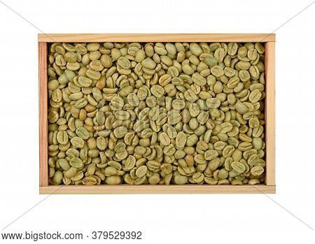 Close Up One Wooden Box Full Of Unroasted Raw Green Arabica Coffee Beans Isolated On White Backgroun
