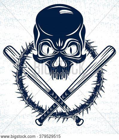 Gang Brutal Criminal Emblem Or Logo With Aggressive Skull Baseball Bats Design Elements, Vector Anar