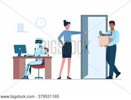 Ai, Technologies Of The Future. Artificial Intelligence Has Replaced Human, He Lost His Job Due To R