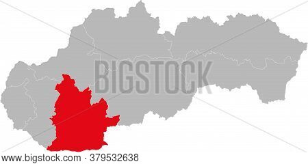 Nitra Region Isolated On Slovakia Map. Gray Background. Backgrounds And Wallpapers.