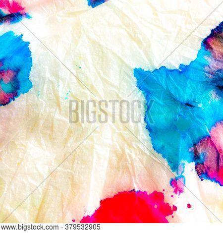 Indian Ikat. Shibori Modern Design. Splash Watercolor Design. Dye Background Print. Aquarelle Fabric
