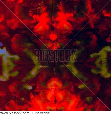Watercolor Batik Repeat. Blood Summer Illustration. Watercolor Batik Repeat Background. Ink Fractal