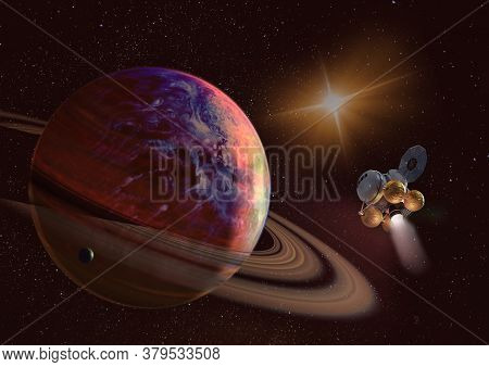 Spaceship On Orbit Of The Saturn Planet. Exploration Of The Space. Sci-fi Wallaper. Elements Of This