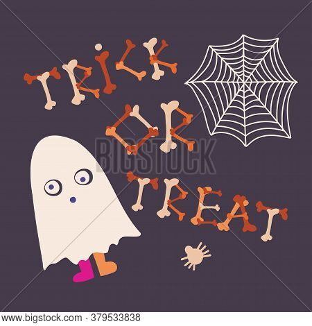 Colorful Isolated Vector Trick Or Treat Illustration Whit Ghost And Spider Net