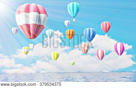 Colorful Hot Air Balloons Rising Above Serene The Ocean Seascape With Blue Sky Background. Beautiful