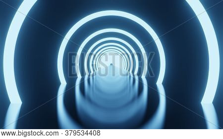 Simple Empty Dark Futuristic Sci Fi Room Dark With Lights And Circle Neon Light 3d Rendering Illustr