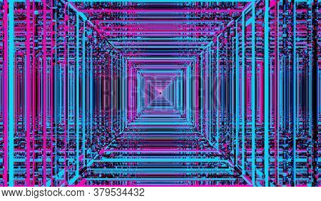 3d Render. Abstract Digital Square Colorful Neon Background. Street Of Futuristic Digitally Generate