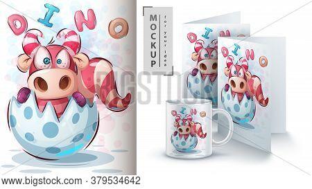 Dino Birthday Egg Poster And Merchandising. Vector Eps 10