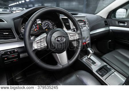 Novosibirsk/ Russia - August 01 2020: Subaru Outback, Auto Interior: Steering Wheel With  Logo    An