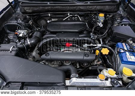 Novosibirsk/ Russia - August 01 2020: Subaru Outback, Close Up Detail Of  Car Engine, Front View. In