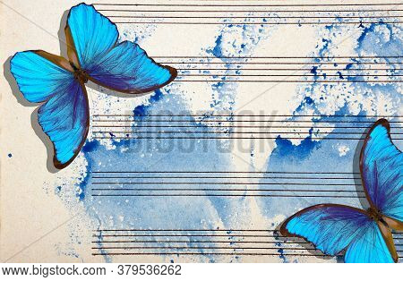 Morpho Blue Butterflies And Notes. Butterfly Melody. Old Music Sheet In Blue Watercolor Paint. Blues