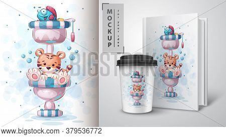 Tiger Toilet - Poster And Merchandising. Vector Eps 10