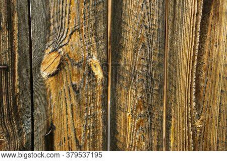 Background Of Brown Old Natural Wood Planks Dark Aged Empty Rural Room. Logs Inside Vintage Light Wa