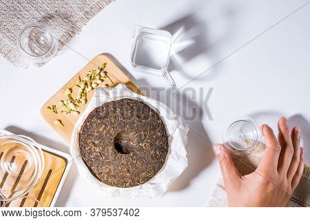 Chinese Tea Ceremony, Herbal Tea. Traditional Asian Black Tea. On A White Background, Top View. Flat