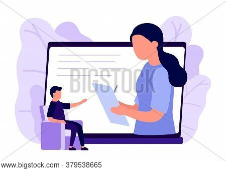 Online Psychological Counseling On Internet. Business Remote Video Communication On Laptop. Assistan