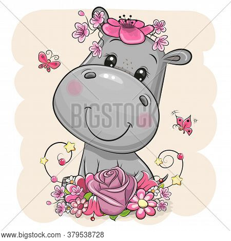 Cute Cartoon Hippo With Flowers On A Beige Background