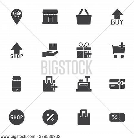 Online Shopping Vector Icons Set, Modern Solid Symbol Collection, E-commerce Filled Style Pictogram