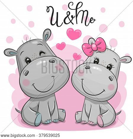 Two Cute Cartoon Hippos On A Pink Background