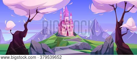 Magic Pink Castle On Green Hill. Vector Cartoon Landscape With Mountains, Trees And Road To Cute Pri