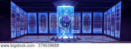 Vector Cartoon Interior Of Future Data Center Room With Server Hardware And Hologram Of Processor. C