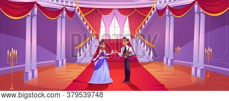 Prince And Princess In Royal Castle Hall. Vector Cartoon Background With Couple In Hallway In Baroqu