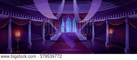 Hall Interior With Ghost In Medieval Royal Castle At Night. Vector Cartoon Illustration Of Empty Hal