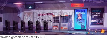 Empty Entrance To Metro Station With Turnstile, Ticket Machine And Subway Map. Vector Cartoon Illust