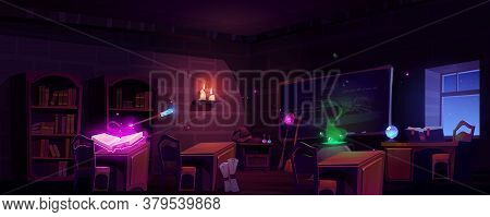 Magic School Classroom With Open Book Of Spell, Chalkboard And Bookcases At Night. Vector Cartoon Il