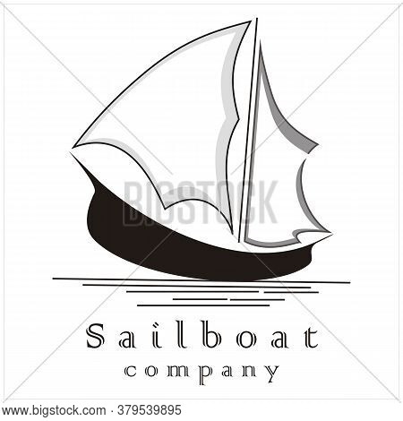 Silhouette Of Ship Logo Design Traditional Sailboat At Sea With Flag