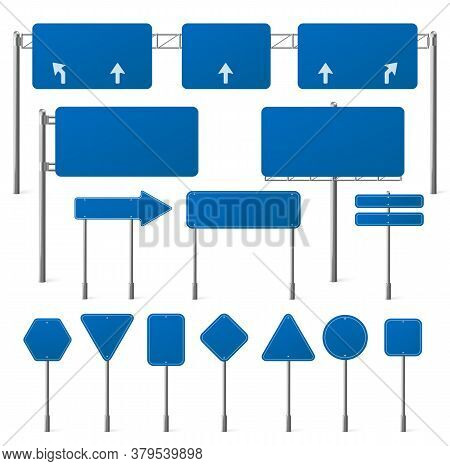 Blue Road Signs Different Shapes On Metal Frame. Vector Realistic Set Of Blank Traffic Sign Boards W