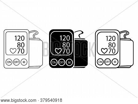 Blood Pressure Monitor. Tonometer Icon. Illustration Of Tonometer Icon In Glyph And In Outline Style