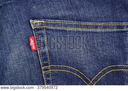 India, New Delhi - May 1, 2019: Close Up Of The Levi's Red Label On The Back Pocket Of Denim Jeans.