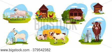 Farm Animal Set With Sheep, Cow, Goat, Pig, Rooster, Rabbit Isolated On White. Agriculture Farming I