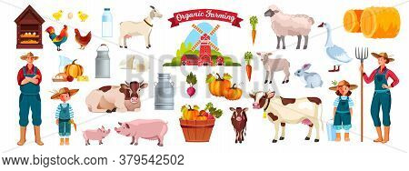 Farm Set With Family, Cow, Pig, Goat, Village Animals, Haystack, Birds, Dairy Products, Vegetables.