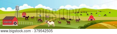 Rural vector landscape with grazing cows, barn, water tower, green hills, village road. Farm landscape in flat style with livestock, fields, meadow. Rural panoramic view with pasture, clouds, skyline