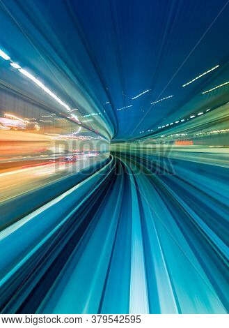 Abstract High Speed Technology Pov Train Motion Blurred Concept From The Yuikamome Monorail In Tokyo