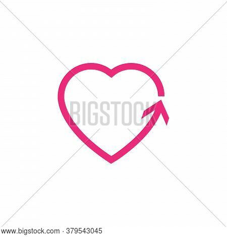 Heart Line Icons. Arrow Heart. Stock Vector Illustration Isolated On White Background
