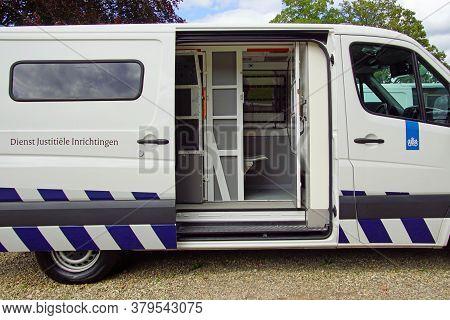 Veenhuizen, The Netherlands - July 29, 2020: The Inside Of A Dutch Prisoners Transport Van.