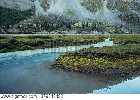 Autumn Scenery With Azure Milky Mountain River And Rich Vegetation. Atmospheric Autumn Alpine Landsc