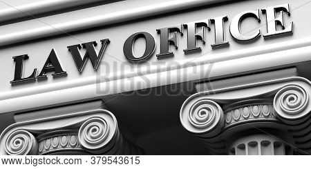 Law Office, Building Sign. Two Pillars Part Pedestal, Ancient Greek Architecture Of White Stone Marb