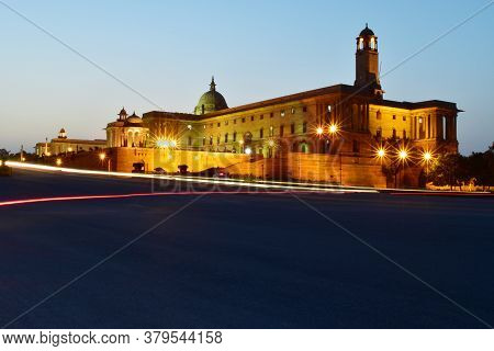 Indian President House , Rajpath In City Lights, New Delhi, India, Asia. Night Photography On Freewa