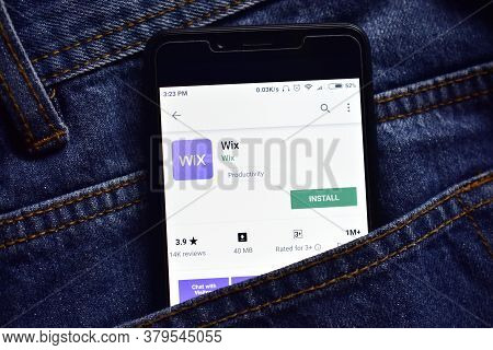 Delhi, India, May 13, 2019: Wix Web Development Platform Application On Smartphone, Wix App On Plays