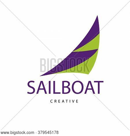 Bright Purple Sailboat Sign. Design Modern Logos Sailing For Business.