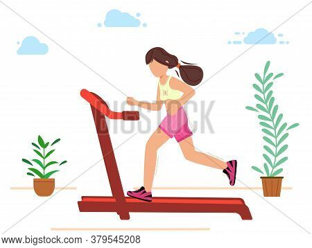 The Girl Is Engaged In Sports Running On A Treadmill.