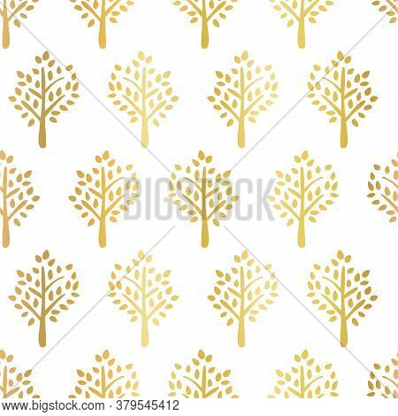 Gold Foil Trees Seamless Vector Pattern. Tree Silhouettes Faux Golden Metallic On White Fall Backgro