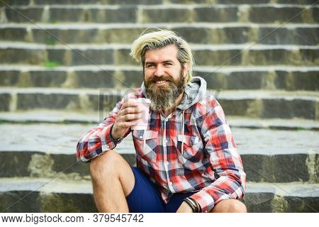 Take Away Coffee. Pure Pleasure. Caffeine Dose. Good Mood. Third Wave Coffee Culture. Man With Beard