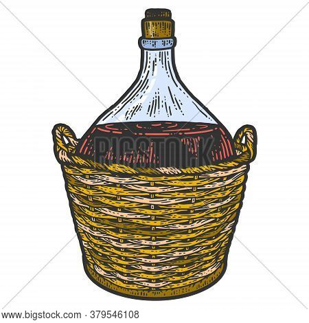 Wine Bottle In A Protective Wicker Basket. Apparel Print Design. Scratch Board Imitation. Black And
