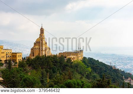 Saint Paul Basilica And Convent In Lebanon. Panoramic View Of The Church On The Mountain On The Leba